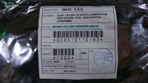 DY-NW1-CL-1/6U-70X60MM-A09-3S Clay 1/6 in Static Dissipative Non Woven PKG / Humidty Bags