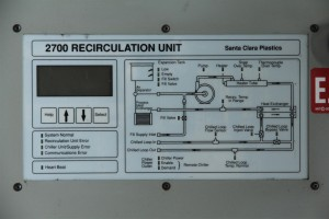 2700 Chiller Recirculation Recirclaing unit / 30 Amps 50~60Hz / 220~240V / Phase 1 / SCP Santa Clara Plastics